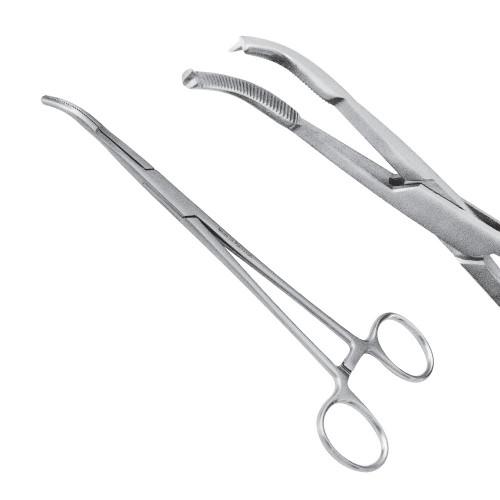 Затискач черевний Mikulicz, 20 см, загнутий, 1:2 зубий, J-17-285