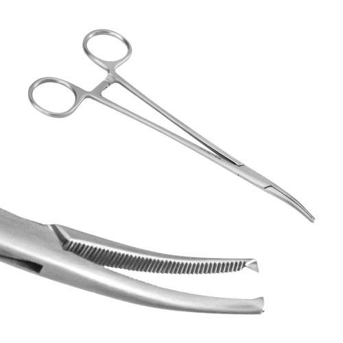 Затискач судинний Halsted-Moskito, зігнутий, зубці 1:2. 18 см, J-17-036