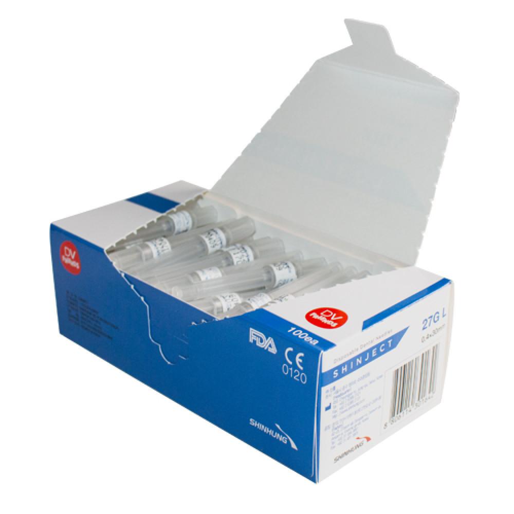 Голка стоматологічна SHINJECT 27G L (0.4x30мм), блакитна, метричний тип  (100 шт)