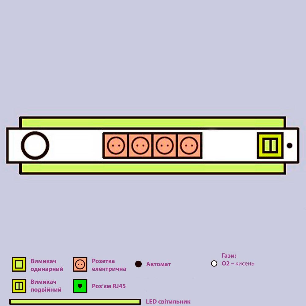 Панель приліжкова універсальна Медфлоу-09 з верхньою і нижньою підсвіткою