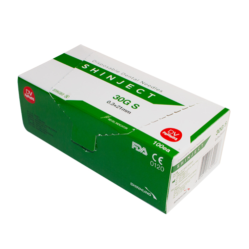 Голка стоматологічна SHINJECT 30G S (0.3x21мм), зелена, метричний тип     (100 шт)