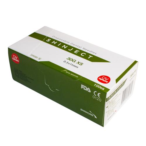 Голка стоматологічна SHINJECT 30G XS (0.3x11мм), зелена, метричний тип (100 шт)